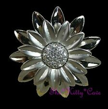Chic Matte Polished Silver Daisy Flower Floral Bloom Ring w/ Swarovski Crystals