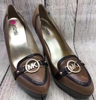 Michael Kors Brown Leather Pump Platform Heels MK-HorseBit Shoes Women's 9 M