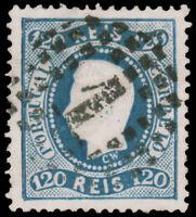 Portugal  #32 Used CV$40.00 1885 120r BLUE RE-PRINT