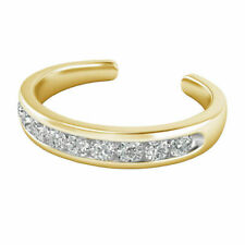0.09 Ct Diamond Open Back Channel Set Adjustable Toe Ring In 14K Yellow Gold Fn