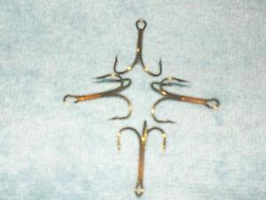 (25) Size #2/0 MUSTAD #3551  Treble  Fishing Hooks Bronze NEW dd