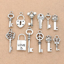 10PCS Mix Antique Silver Key Lock Love Charm pendant for Jewelry Accessories