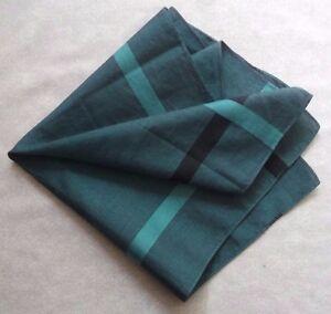 Vintage Handkerchief MENS Hankie Top Pocket Square GREEN COTTON