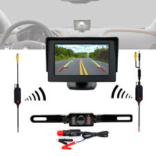 "Car 4.3"" LCD Monitor Wireless Back Up Camera Kit Night Vision w/ Power Adapter"