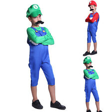 Boys Super Mario Luigi Plumber Bros Workmen Game Fancy Dress Costume Kids