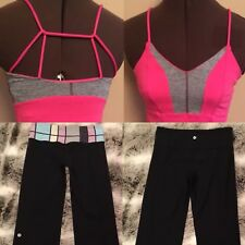 Lululemon 4 Pink Tadasana Tank Reversible Groove Black Capri Pants Lots Of 2