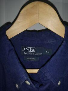 Mens Ralph Lauren Blue custom fit Linen Shirt Size  XL vgc button cuffs