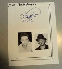 DAVID FAUSTINO SIGNED INDEX CARD W/ PHOTOS ATTACHED TO 9X11 SHEET