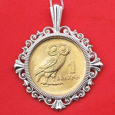 1973 Greece 1 Drachma Athena's Owl & Phoenix BU Coin Sterling Silver Necklace
