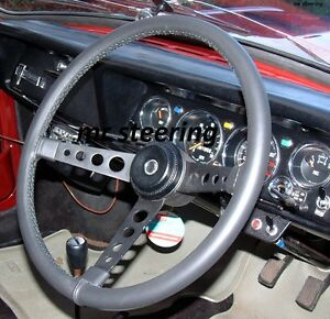FOR VOLVO PV 544 1958-1966 REAL BLACK ITALIAN LEATHER STEERING WHEEL COVER NEW