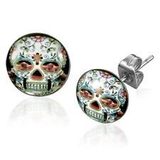 Flower and Vine SKULL Stud Earrings - Stainless Steel - 10 mm (357)