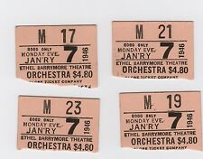 "4 Orchestra Seat Stubs/Broadway's Ethel Barrymore Theatre/""Pygmalion"" 1946"