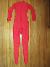 Plus Size Shiny Red T-Neck Spandex Footed Zentai Unitard Catsuit Size XXL New