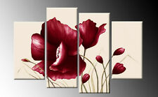 DARK RED FLORAL CANVAS ON LIGHT CREAM WALL ART SPLIT  PICTURES 4 PANEL 40""