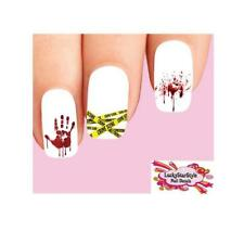 Waterslide Nail Decals Set of 20 - Halloween Crime Scene Tape Bloody Hand Print