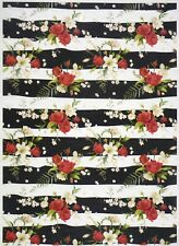 Rice Paper for Decoupage Scrapbook Craft Sheet-  Red roses on black