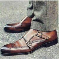 Handmade Men's Brown Leather Heart Medallion Double Monkstrap Shoes