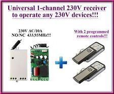 Universal 230V 1-channel receiver module + 2 remotes 433,92MHz, COM/NO/NC