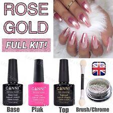ROSE GOLD FULL KIT Mirror Powder Chrome Effect Nail Pink Powder Gel Polish UK
