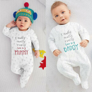I Love Mom/Dad Organic Baby Boy Girl Grow Long Sleeve Bodysuit Jumpsuit  GYS