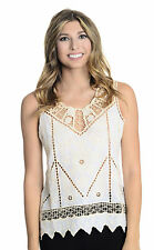 Sz S Yoana Baraschi White/Beige Ceylon Baroque Floral Embroidered Lace Tank Top