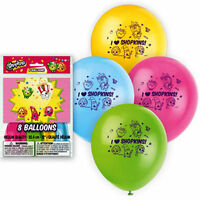"""8 pc 12"""" I Love Shopkins Latex Party Balloons Happy Birthday Food Makeup Treats"""