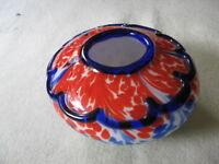 Hand Blown Encased Glass Blue, Red, Green Swirl Vase Heavy 4 inch high
