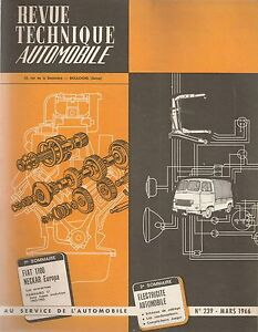 REVUE TECHNIQUE AUTOMOBILE 239 RTA 1966 FIAT 1100 + 1200 CABRIOLET NECKAR EUROPA