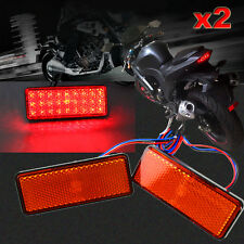 2pcs Motorcycle Truck 12V Red 24 SMD LED Reflector Tail Brake Stop Marker Light