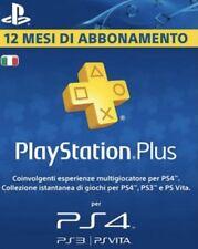 Abbonamento PLAYSTATION PLUS 12 Mesi-365 GIORNI PSN PS4 LEGGERE DESCRIZIONE