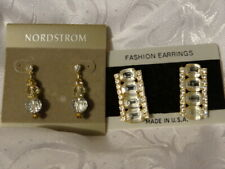 New On Cards 1 Fabulous Crystal ! Lot of 2 Pr Fancy Nordstrom Crystal Earrings
