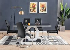 GIOVANI Black White Gloss Glass Dining Table Set and 6 Leather Chairs Seats