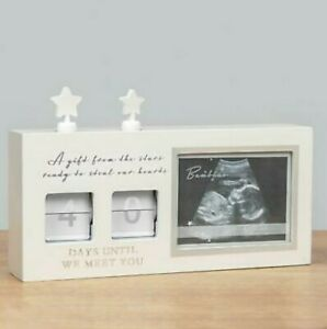 BAMBINO White UNTIL WE MEET YOU BABY COUNTDOWN CALENDER With SCAN FRAME (Unisex)