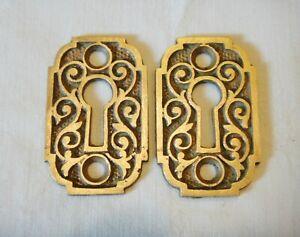 (2) Pair Victorian Eastlake Ornate Brass Key Escutcheon Hardware Matching Set #3