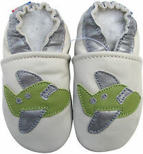 carozoo airplane cream 2-3y soft sole leather toddler shoes