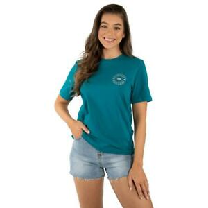 Signature Bull Teal with Silver Print Womens LOOSE T-Shirt Ringers Western