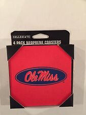 4 Neoprene Coasters UNIVERSITY of MISSISSIPPI OLE MISS Officially Licensed NEW
