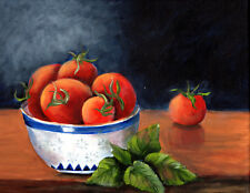 Bowl of tomatoes and basil  still life original acrylic  painting on canvas