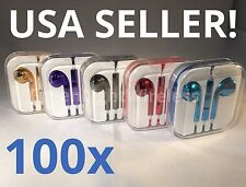 100x LOT Metallic Earphones Earbuds Headset Remote Mic for Apple iPhone
