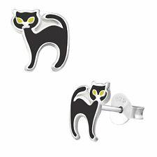 Black Cat Earrings 925 Silver Stud Earring Yellow Eyes Halloween Ladies Girls