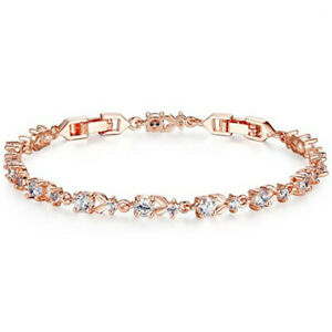Fashion Womans White Round Zircon Rose Gold Bracelet Valentine'S Day Jewelry Gif