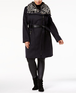 Via Spiga Plus Size Belted Faux-Fur-Collar Walker Coat - Charcoal - Size UK 22