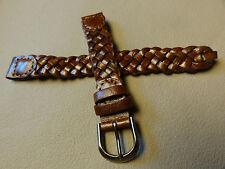 New Womens Brown Western Braided Woven 12mm Watch Band Gun Metal Buckle $8.99