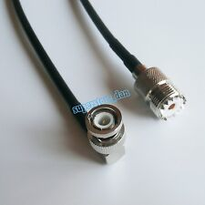 UHF female SO239 to BNC male right angle jumper pigtail coax RG58 cable 20inch