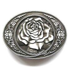 Rose Flower Western Oval Vintage Belt Buckle