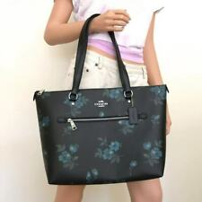 NWT Coach Gallery Victorian Blue Black Floral Print Leather Tote Bag F88877