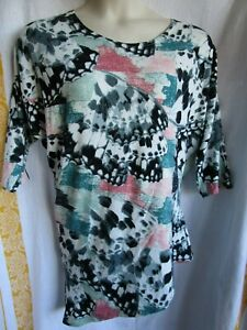 KATIES, Multi-Col, Stretch Tunic, Asymmetric Hem, 3/4 Sl, Sz M (12-14), Exc Cond