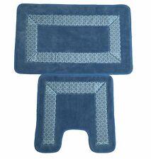 Trellis Border 2pc Non Slip Super Absorbent Pedestal and Bath Mat Set  Blue