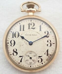 ANTIQUE 16S SOUTH BEND GRADE 211 17J GOLD FILLED POCKET WATCH PARTS REPAIR