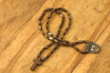 Handmade Christian Orthodox Pendant with Wooden Cross Necklace Crucifix No12